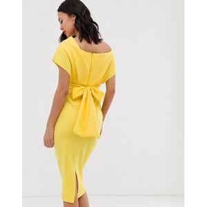 ASOS DESIGN – Baraxlad fodralklänning i midilängd med knytdetalj-Gul