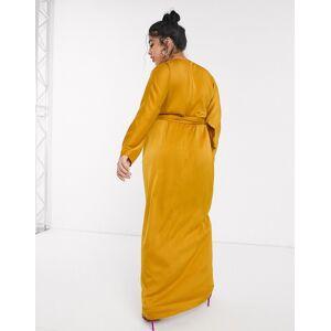 ASOS Curve ASOS DESIGN Curve – Maxiklänning i satin med pingvinärm och omlott i midjan-Gul