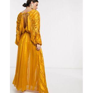 ASOS DESIGN – Gul maxiklänning med infälld kedja och satinränder-Flerfärgad