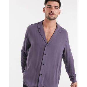 ASOS DESIGN – Lila skjorta i viskos med låg, platt krage och avslappnad passform