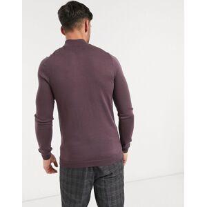 ASOS DESIGN – Lila tröja i muscle fit med halvpolokrage i merinoull
