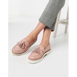 ASOS DESIGN – Meze – Rosa, grova loafers i läder med krokodilskinnsmönster och fransar