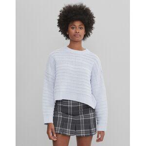 Bershka – Ljusblå tröja i återvunnen polyester med rund halsringning-Lila L