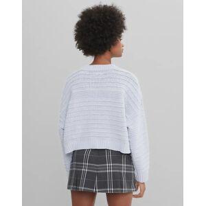 Bershka – Ljusblå tröja i återvunnen polyester med rund halsringning-Lila S