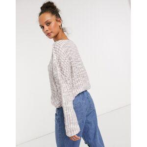 Cotton:On – Syrenlila tröja i ribbad struktur-Gräddvit