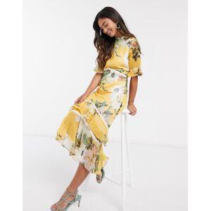 Hope & Ivy – Gul blommig midaxiklänning med öppen rygg och volang i nederkanten-Blå