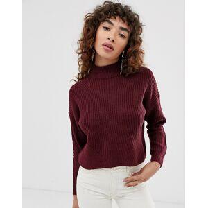 Only– Kort, grovstickad tröja med halvpolokrage-Lila