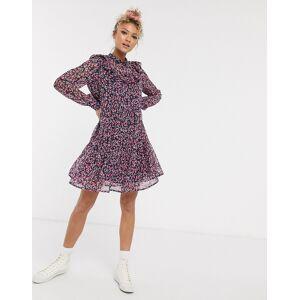 Pieces – Lila, småblommig smockklänning i chiffong och minimodell med volangdetalj-Flerfärgad