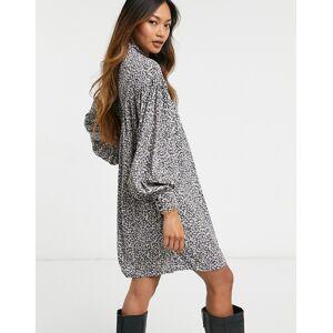 Vero Moda - Lila småblommig och smockad miniklänning med hög ringning-Flerfärgad