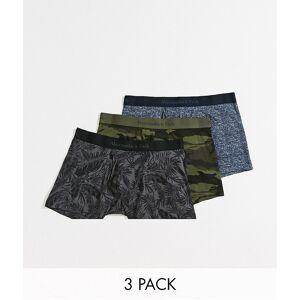 Abercrombie & Fitch – Gröna/blå/svarta trunks med kamouflagemönster och blommor i 3-pack-Flerfärgad