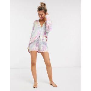ASOS DESIGN – Batikmönstrad pyjamas med skjorta och shorts i modal-Flerfärgad