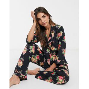 ASOS DESIGN – Blommig pyjamas med skjorta och byxor i 100% modal-Grön