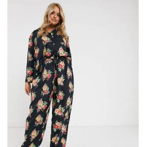 ASOS Curve ASOS DESIGN – Curve – Blommig pyjamas med skjorta och byxor i 100 % modal-Grön