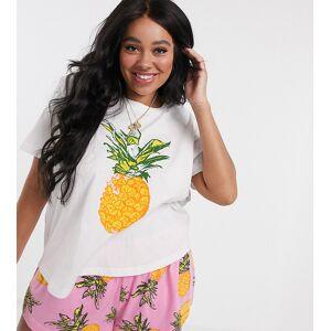 ASOS Curve ASOS DESIGN Curve – Mixa & matcha – Ananasmönstrad pyjamastopp i jersey-Flerfärgad