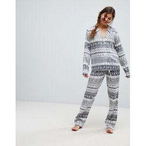 ASOS DESIGN – Jul – Pyjamasset med vida ben och fairisle-mönster i 100 % modal-Flerfärgad