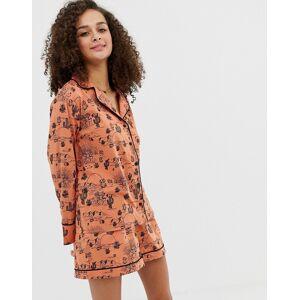 ASOS DESIGN – Kaktusmönstrad pyjamas med skjorta och shorts i ekologisk bomull-Flerfärgad