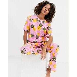 ASOS DESIGN – Mixa & matcha – Pyjamaströja i jersey med ananastryck-Flerfärgad