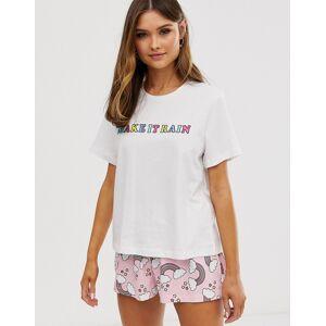 ASOS DESIGN – Mixa & matcha – Regnbågsfärgad pyjamaströja-Flerfärgad