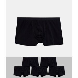 ASOS DESIGN – Plus – 5-pack svarta trunks i ekologisk bomull