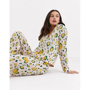 ASOS DESIGN – Pyjamasset i 100 % modal med djurmönstrad skjorta och byxor-Flerfärgad