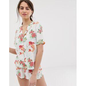 ASOS DESIGN – Pyjamasset i 100 % modal med shorts och guldfiskmönster-Flerfärgad