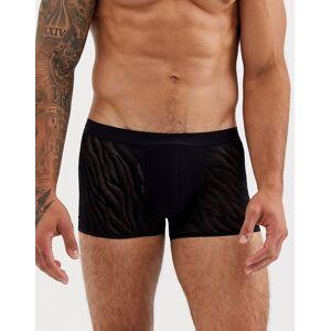 ASOS DESIGN – Svarta trunks med zebramönstrad mesh