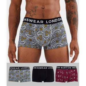 Burton Menswear – 3-pack blommiga trunks-Guldbrun