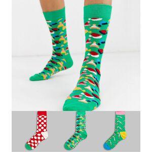 Happy Socks – 3-pack strumpor i julgransformad presentask-Flerfärgad