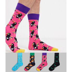 Happy Socks – Presentförpackning med djurmönstrade strumpor i 4-pack-Flerfärgad