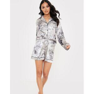 In The Style x Lorna Luxe – Marinblå blommig pyjamas i satin med skjorta och shorts-Flerfärgad