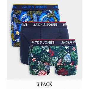 Jack & Jones – Blommiga trunks i 3-pack-Flerfärgad