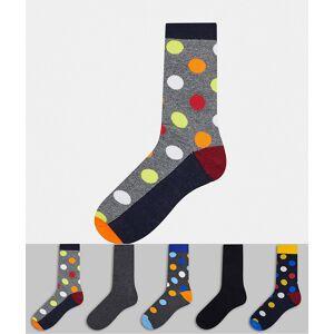 Jack & Jones – Flerfärgade prickiga strumpor i 5-pack-Blå One Size