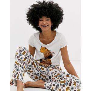 Monki– Leopardmönstratblommigt pyjamasset-Flerfärgad
