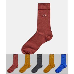 New Look – Flerfärgade strumpor med broderade ansikten, 5-pack