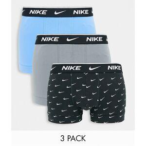 Nike – Blå/grå/svarta stretchkalsonger i bomull, 3-pack-Flerfärgad XL