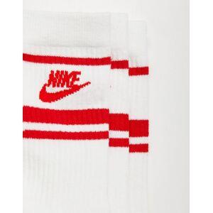 Nike – Essential – 3-pack vita randiga strumpor med röd logga