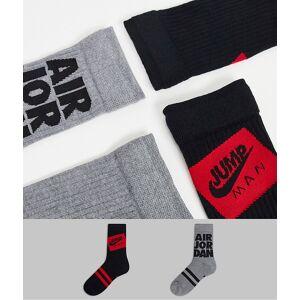 Jordan Nike – Jordan Jumpman Legacy – Grå och röda strumpor, 2-pack M