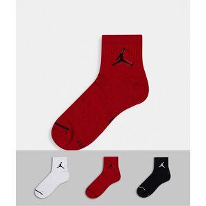 Jordan Nike – Jordan Jumpman – Svarta kvartslånga strumpor i 3-pack med logga-Flerfärgad