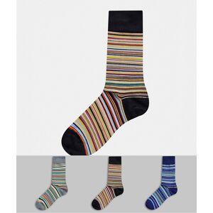 Paul Smith – 3-pack svarta/grå/blå, randiga strumpor-Flerfärgad
