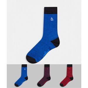 Penguin – 3-pack mönstrade strumpor i vinrött/blått/rött-Flerfärgad