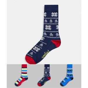 Penguin – Christmas – 3-pack, marinblå/blå strumpor med julmönster-Flerfärgad