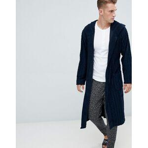 BOSS Bodywear morgonrock med terry logga-Marinblå