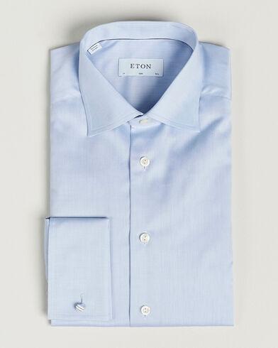 Eton Slim Fit Shirt Double Cuff Blue