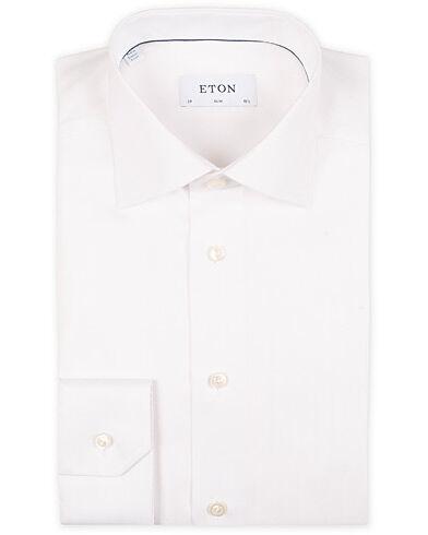 Eton Slim Fit Signature Twill Herringbone Shirt White