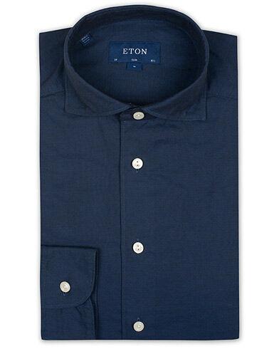 Eton Slim Fit Twill Cotton Silk Shirt Blue