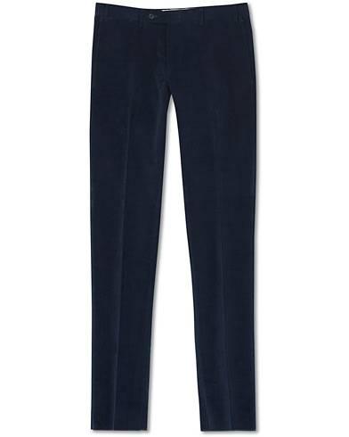 Canali Slim Fit Corduroy Trousers Navy