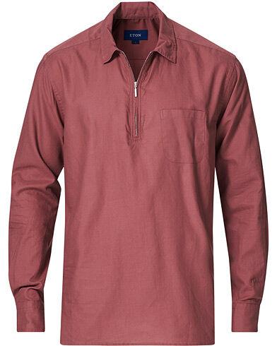 Eton Slim Fit Cotton Half Zip Shirt Red