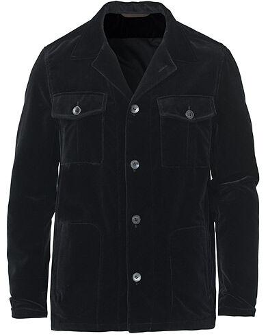 Oscar Jacobson Holger Velvet Shirt Jacket Black