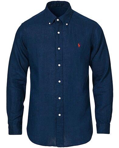 Polo Ralph Lauren Custom Fit Linen Button Down Shirt Newport Navy