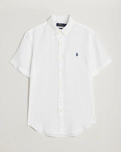Polo Ralph Lauren Slim Fit Linen Short Sleeve Shirt White